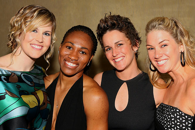 Skier Sarah Burke, Los Angeles Spark Temeka Johnson, Motocross athlete Tania Satchwell and surfer Mary Osborne smile in support of one another at this year's Billie Awards.