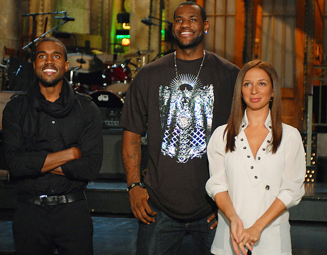 Cleveland Cavalier LeBron James is joined on the Saturday Night Live stage by Kanye West and Maya Rudolph during his night as host this September.