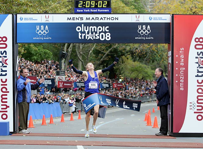Hall's victory was quickly dimmed by the death of fellow runner Ryan Shay.