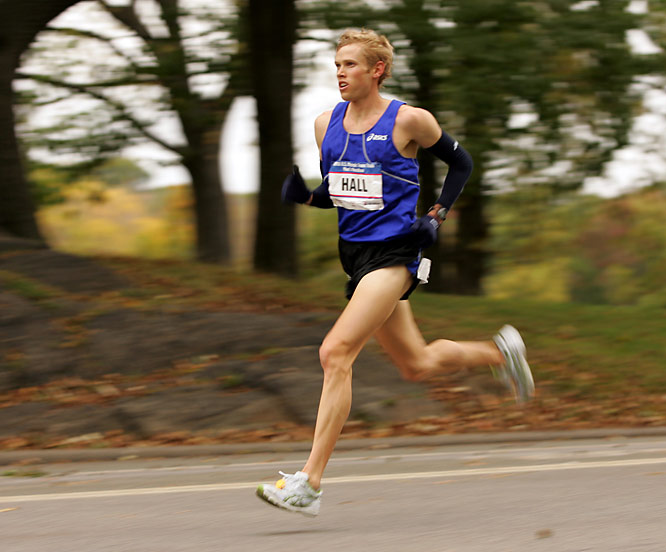 Hall made the fastest marathon debut by an American when he came in eighth against an elite field in London in April.