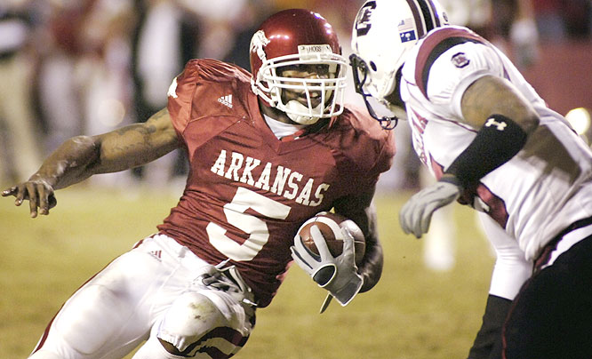 Darren McFadden ran for an SEC-record 323 yards, ran for a touchdown and also threw for a one as the Razorbacks knocked off the Gamecocks in Fayetteville.