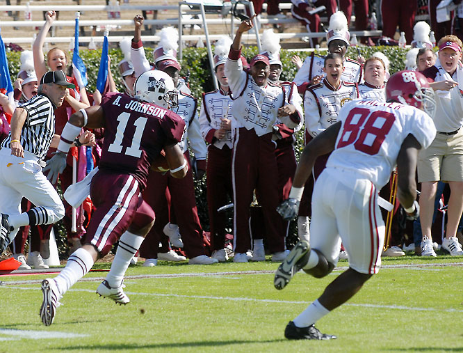 The Bulldogs became bowl eligible for the first time since 2000 with this upset victory. Mississippi State's Anthony Johnson (pictured) made the game's biggest play, returning an interception 100 yards for a touchdown.