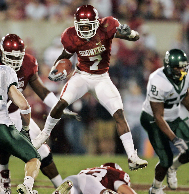 The Sooners improved to 17-0 all-time against the Bears. Oklahoma freshman RB DeMarco Murray (pictured) scored four touchdowns, including one on a 91-yard kickoff return.