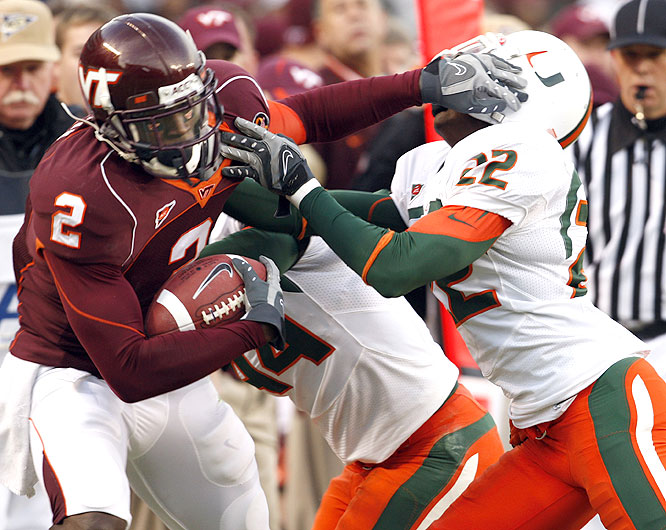 Josh Morgan and the Hokies handed the Hurricanes their third straight loss in moving into a share of first place in the Coastal Division with Virginia.