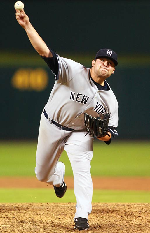 "The poster boy for the Yankees' new young pitching movement was Joba Chamberlain, the unhittable right-hander out of Lincoln, Neb.. On Aug. 7, the Yankees called up the once-obscure power pitcher and immediately put him in the bullpen, unveiling to the world his three-digit fastball (that is, 100 mph) and plunging slider. The Yankees implemented the ""Joba Rules,"" a set of guidelines designed to protect the young pitcher's arm, but as time wore on the team realized his true value to the organization. He ended the year as the Yankees' best pitcher, posting a 0.38 ERA and 0.75 WHIP in 24 IP, striking out 34, as he provided the bridge to Mariano Rivera in a successful playoff race. (The gnats in Game Two of the ALDS were in no way his fault.)"