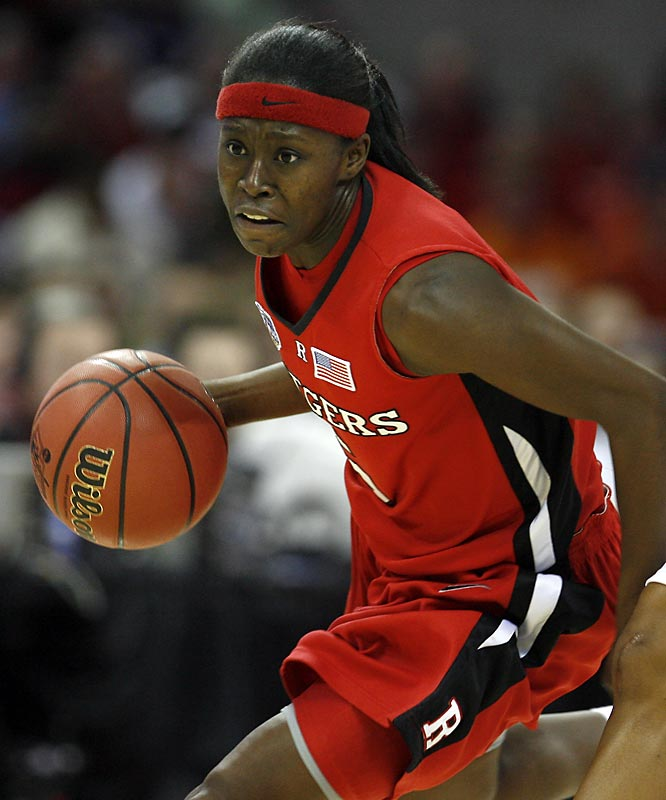 The Rutgers senior forward averaged 12.3 points, 6.3 rebounds, and won her second straight Big East Defensive Player of the Year, leading Rutgers to a surprising runner-up finish to Tennessee. Most impressively, following radio host Don Imus' racially insensitive comments about her team, she proved to be an eloquent spokesperson for Rutgers and women athletics.