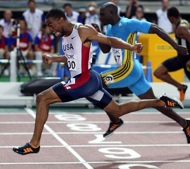 Gay won three gold medals at the IAAF World Championships in Osaka, taking both the 100 and 200, and running the third leg on the victorious 4x100 relay. Earlier in the year, at the U.S. championships, he ran the second-fastest 200 (19.62) of all time.