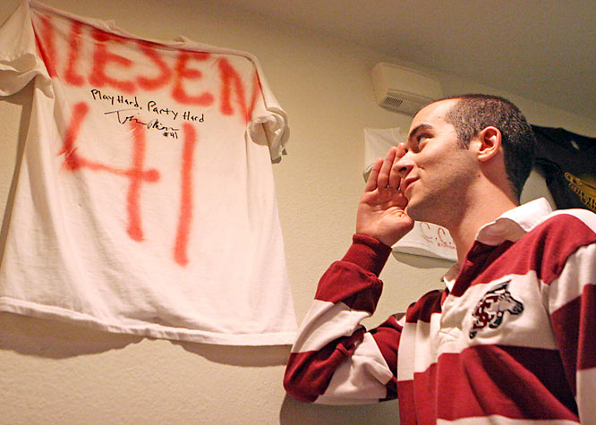 The house's most prized possession -- a signed Travis Niesen shirt. Niesen was a star power forward for the Broncos who graduated in 2005.