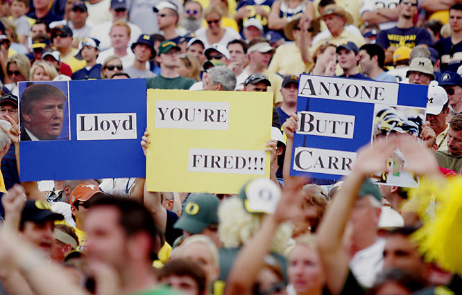 Oregon fans take a shot at Michigan coach Lloyd Carr  during the Ducks' 39-7 early-season demolition of the Wolverines.