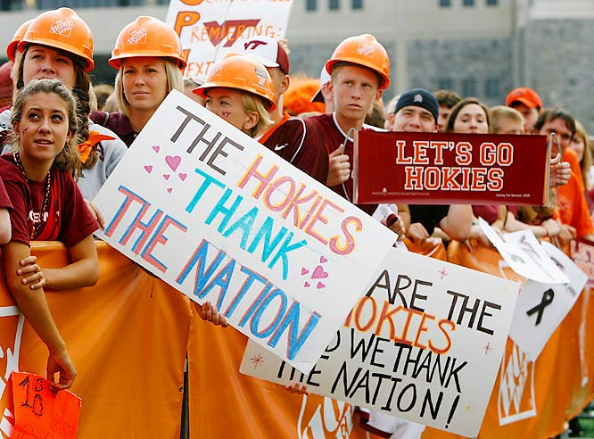 Virginia Tech fans give a big thank you to everyone who supported them after the horrific campus shootings last spring.