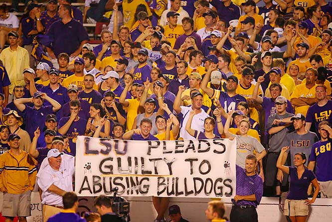 Our favorite sign of the year -- LSU fans do their best to rattle Mississippi State when the teams faced off in August.