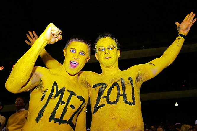 Tough day for these Missouri fans, who were forced to dwell on the Tigers loss to Oklahoma during the six hours it took them to clean up all their bodypaint.