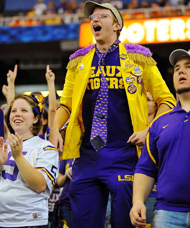 This LSU fan has no shortage of flair.