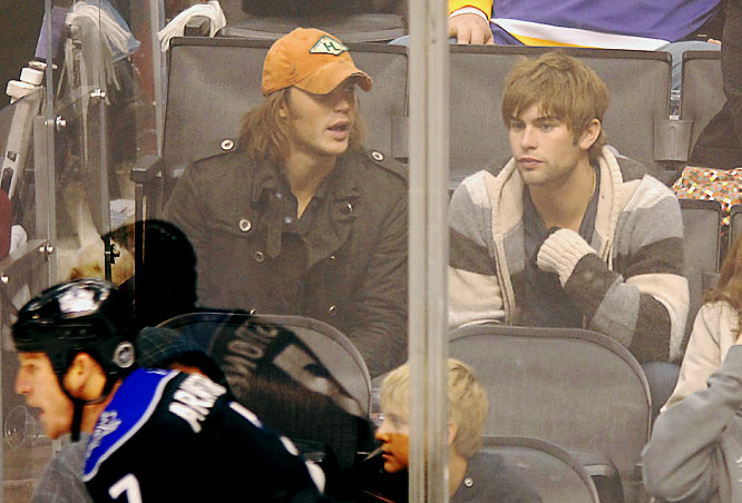 The NHL also drew in some celebs.  'Friday Night Lights' badboy Taylor Kitsch (left) and 'Gossip Girl' star Chace Crawford took in Saturday's Kings-Coyotes battle.