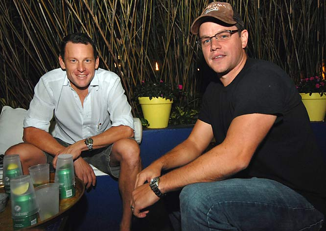 Lance Armstrong took a break from hanging out with an Olsen twin and partied with Matt Damon at Sky Bar in Miami on Tuesday.