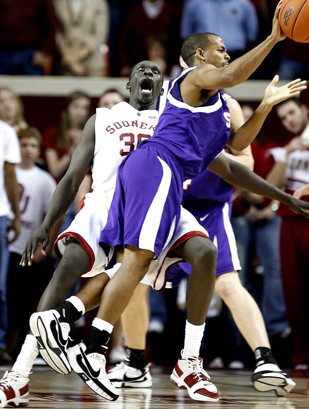 "Dec. 8 in Norman<br>66-62<br><br>For just the second time in 60 games, Oklahoma dropped a non-conference matchup at home -- this one to the small school in Nacogdoches, Texas. With 2.4 seconds remaining and Stephen F. Austin clinging to a a two-point lead, Lumberjacks' junior Josh Alexander knocked down two free throws to seal the win.  ""Our guys have really bought into the theory that if they play hard on defense, we can compete with these schools from major conferences,"" Lumberjacks' coach Danny Kaspar said."