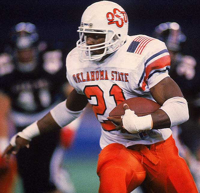 He played behind Thurman Thomas but when he got his chance ... wow. In 1988 Sanders set 34 NCAA records -- he led the nation in rushing (2,628), all-purpose yards (3,250) and scoring (234 points) -- and won the Heisman Trophy, Walter Camp and Maxwell Awards.<br><br>Runner-up: <br>Desmond Howard, WR/KR, Michigan (1989-91)