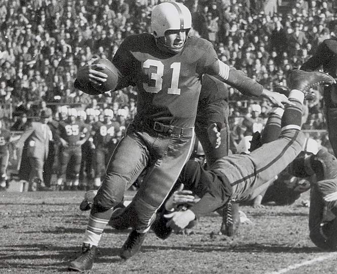 A threat from anywhere on the field -- he was a place-kicker, punter, played safety on defense and was an outstanding blocker --  Janowicz became the third junior to win the Heisman in 1950. Many consider him the greatest athlete in Buckeye history.<br><br>Runner-up: <br>Shane Conlan, LB, Penn State (1982-86)
