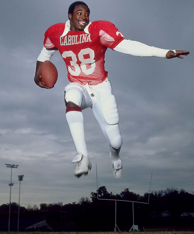 The best football player in Gamecock history, Rogers was a two-time All-America and won the Heisman in 1980. He had 27 games in which he rushed for 100 or more yards.<br><br>Runner-up: <br>Sam Francis, FB, Nebraska (1934-36)
