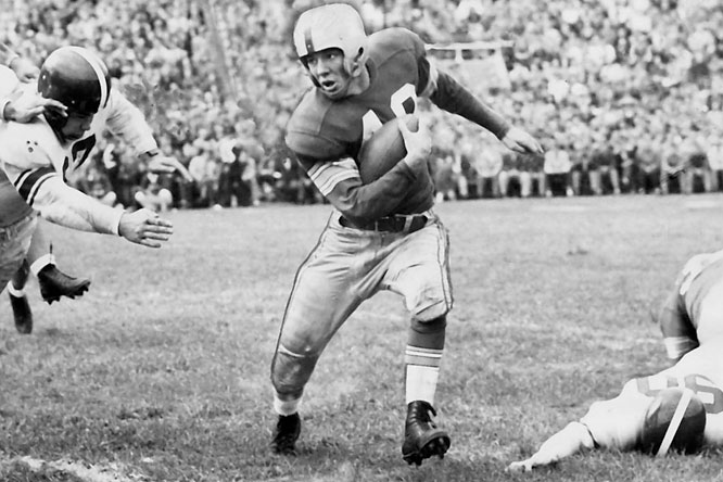 ''Hopalong'' scored 37 touchdowns in 36 games and won the Heisman as a senior in 1955, the same year he was chosen Athlete of the Year by the Associated Press. The nickname came after his first game at Ohio State, when sportswriters who saw him play said he ''hopped all over the field like the performing cowboy,'' a reference to Hopalong Cassady.<br><br>Runner-up: <br>Elroy Hirsch, RB, Wisconsin (1942)