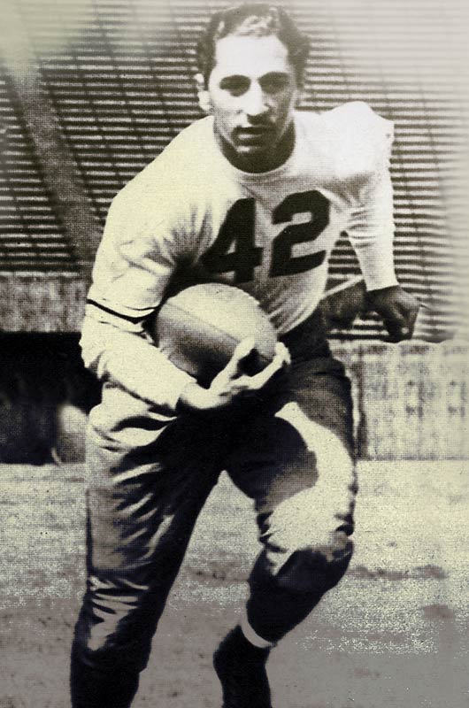 Goldberg was an All-America in 1937 (Pitt won a national championship that season) and 1938 and led the nation in rushing in 1936. He finished third in the Heisman voting in 1937 and was runner-up in 1938. <br><br>Runner-up: <br>Ronnie Lott, S, USC (1977-80)