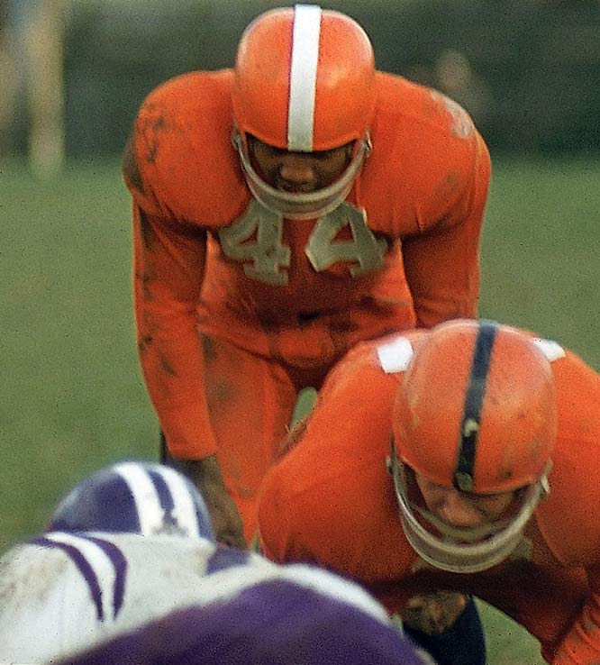It is a number owned by Syracuse, and here is the man who started the legend. Brown was the perfect blend of power and speed. He set an NCAA record in 1943 by scoring 43 points against Colgate -- six touchdowns and seven PATs -- and was a unanimous All-America selection as a senior in 1956.<br><br>Runner-up: <br>Ernie Davis, RB, Syracuse (1959-61)