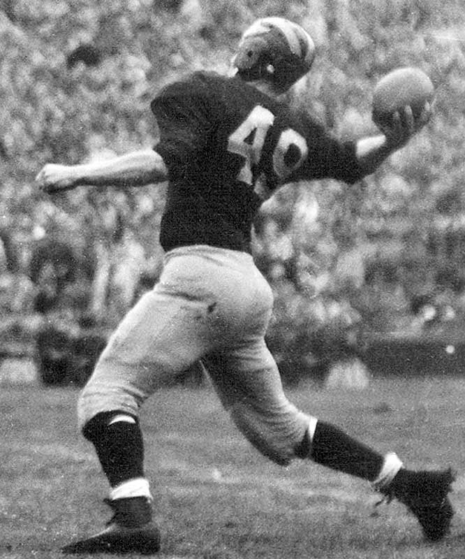 He returned from World War II to become a Wolverine legend. Chappuis led the Big Ten in total offense twice and helped lead Michigan to an undefeated season and 49-0 victory over Southern California in the 1948 Rose Bowl. <br><br>Runner-up: <br>Bob Mathias, FB, Stanford (1948-50)
