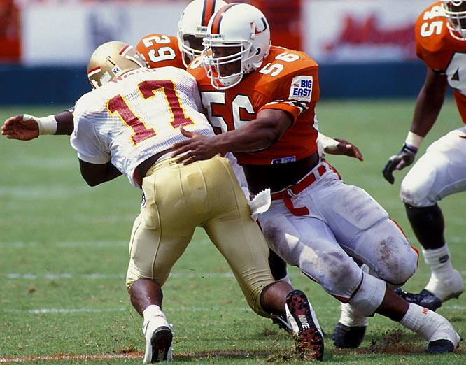 One of Miami's best linebackers, Barrow helped bring the school national championships in 1989 and 1991. He is now the school's linebacker coach.<br><br>Runner-up: <br>Rudy Mobley, HB, Hardin Simmons (1942, 46)