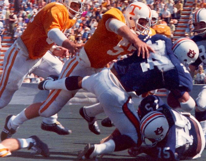 Arguably the best linebacker in Tennessee history, Kiner was the emotional base of his Volunteer teams. The Vols were 26-6-1 during his time in Knoxville.<br><br>Runner-up: <br>Dwight Stephenson, C, Alabama (1977-79)