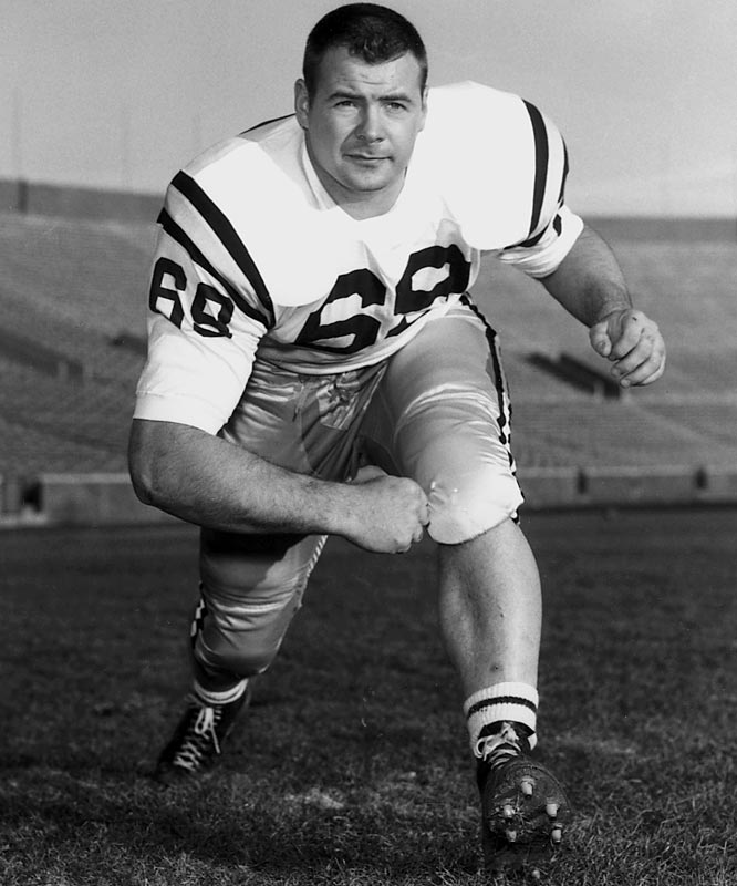 The 1960 Outland Trophy winner was nicknamed ''The Rock of Gibraltar'' for the stability he brought to the Gophers offensive line. He was part of a team that went from last place in the Big Ten the previous year to winning the national championship and gaining a trip to the Rose Bowl. He finished second in the Heisman voting, the highest-ever placement for an interior lineman. <br><br>Runner-up: <br>Clyde Turner, C, Hardin-Simmons (1937-39)