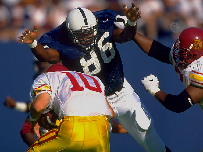 A first-team All-America and the Big Ten Defensive Player of the Year in 1999, Brown finished his Penn State career with  33 sacks and 70 tackles for loss.<br><br>Runner-up: <br>Marlin McKeever, E, USC (1958-60)