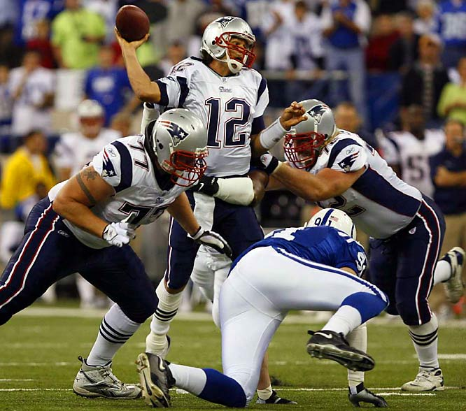 The undefeated Colts and Patriots met in what was dubbed Super Bowl 41 1/2, and the game lived up to the hype. Tom Brady threw two of his three touchdown passes in a four-minute span in the fourth quarter as the Patriots came back from a 10-point deficit for a 24-20 win.
