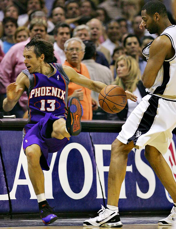 In the final, frantic minute of Game 4 of the Western Conference semifinals, Suns guard Steve Nash was fouled hard by Robert Horry with 18 seconds to play, causing several Suns to leave the bench and earn a suspension. That the Spurs went on to win the series helped up the ante on an already fiercerivalry.