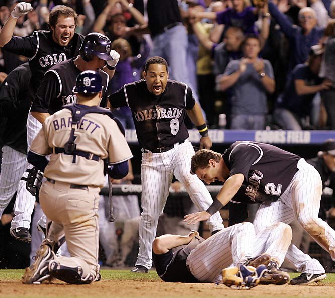 In an improbable run, the Rockies won 13 of their last 14 regular-season games to force a one-game playoff on Oct. 1 with the Padres. Down 8-6 in the 13th inning and facing baseball's alltime saves leader, Trevor Hoffman, Colorado scored three runs in the bottom of the inning to advance to the postseason for the first time since '95.