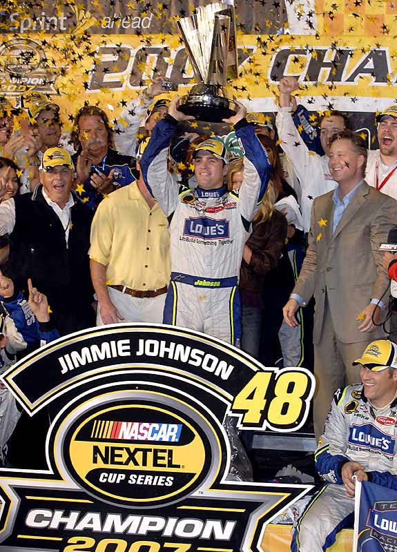 Needing merely an 18th place finish to win the title, Johnson came home a solid 7th to become the first back-to-back Cup champion since Jeff Gordon, in 1997-98.