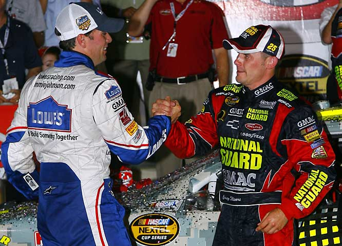 Four months into his ride at Hendrick Motorsports, Casey Mears was outside the Top 30 in points and in a serious funk. But fuel mileage strategy resulted in a win and one of the most emotional victory celebrations of 2007: a heartfelt hug with childhood friend-turned-teammate Jimmie Johnson.