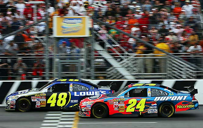 Jeff Gordon kept banging his front bumper into the rear bumper of Jimmie Johnson in the closing laps, but they discovered the bumpers on the Car of Tomorrow line up so squarely that Gordon couldn't loosen Johnson up enough to make room to pass. Johnson held on to win by .065 of a second.