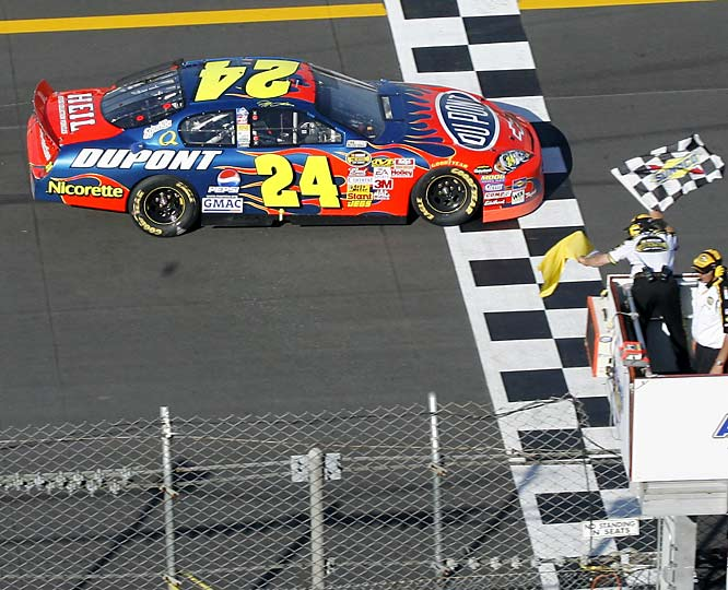 Jeff Gordon took his 77th career Cup victory to move past Dale Earnhardt Sr. into sixth on the all-time list and set off a shower of beer cans on his victory lap.