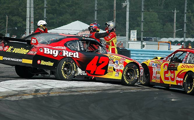 Juan Montoya and Kevin Harvick showed their road rage after on-track incidents at Watkins Glen International. Montoya, bumped by another car, knocked Harvick out of the race. The two drivers had an angry exchange and actually grabbed each other before they were separated by officials.