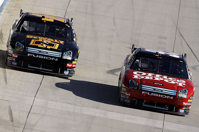 At Martinsville, an irate Carl Edwards pushed Matt Kenseth during a live television interview, and then faked a punch at his Roush Fenway Racing teammate.  The two had tussled twice on the track.