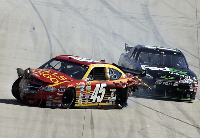 After Denny Hamlin wrecked Kyle Petty at Dover, the two had a confrontation in the garage area. Hamlin was sitting in his car as his crew tried to get his car back on the track when Petty came and slapped the visor down on Hamlin's helmet.