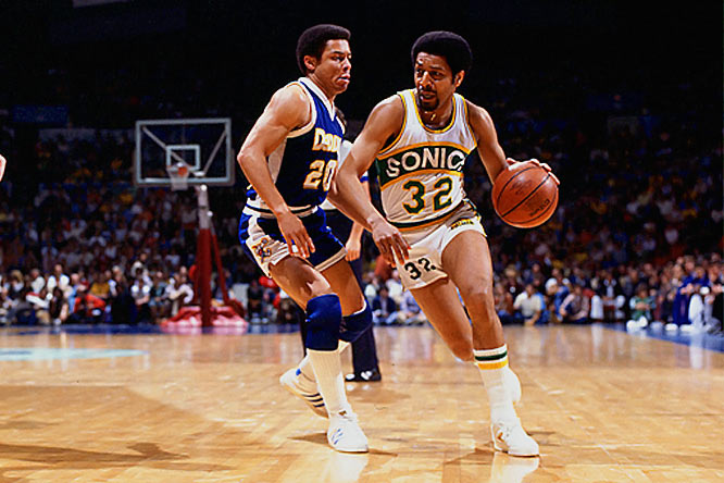 Brown already had been a starter and an All-Star for Seattle when coach Lenny Wilkens teamed Gus Williams and Dennis Johnson in the backcourt. So Brown slipped into an instant-offense role that meshed perfectly with his nickname and averaged 16.6 points in 1977-78, second-best on a Sonics team that reached the Finals. The next year, Brown contributed 14.0 ppg to Seattle's only NBA title -- it would have been more had the three-point line been in use. In 1979-80 it was, and Brown led the league by hitting 44.3 percent (39 of 88).