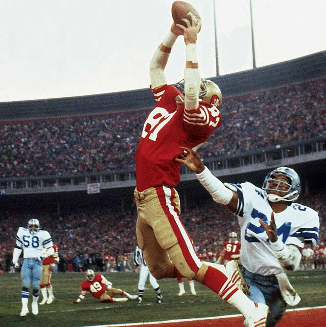 "In the final reel of a back-and-forth affair, the 49ers began their drive facing a 27-21 deficit. Montana dinked and dunked his West Coast offense down to the Dallas 6 with just 58 seconds remaining. On third down, Bill Walsh dialed up ""Sprint Right Option"" -- a designed pass to wideout Freddie Solomon. But when the Cowboys flushed the pocket, Montana rolled to his right and threw a high ball toward the back of the end zone -- where a leaping Dwight Clark somehow came down with it."