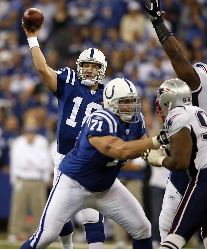 "With a dramatic career-altering victory in the AFC title game, Peyton Manning conquered his New England demons once and for all.  After a Stephen Gostkowski field goal gave the Patriots a 34-31 lead with 3:49 remaining, Manning orchestrated an 80-yard touchdown drive ending with Joseph Addai's game-winning score. ""I watched the drive with Elway, you never get tired of seeing that,"" Manning told reporters after the game. ""I'm not comparing what we just did to that, but it sounds pretty good."""