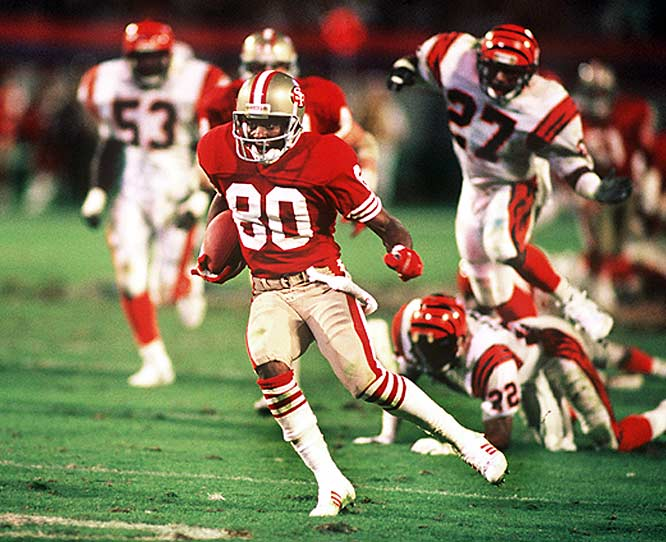 "Perhaps the defining moment of the Joe Montana legend came after Cincinnati took a 16-13 lead. With the 49ers needing to march 92 yards in just 3:20, the San Fran quarterback sensed tension in the huddle. ""Isn't that John Candy?"" asked Montana, pointing into the crowd. The moment of levity famously loosened the Niners as the team embarked on an 11-play, game-winning drive, capped by a 10-yard touchdown pass to John Taylor with 34 seconds left."