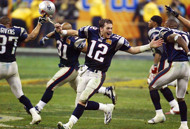 When Ricky Proehl's touchdown reception pulled underdog Carolina even with the Patriots with just 1:08 remaining in regulation, it appeared the Super Bowl would be headed to overtime for the first time in the game's history. But Tom Brady coolly led New England down the field with completions to Troy Brown, Daniel Graham and Deion Branch into position for Adam Vinatieri's game-winning field goal with four seconds remaining.