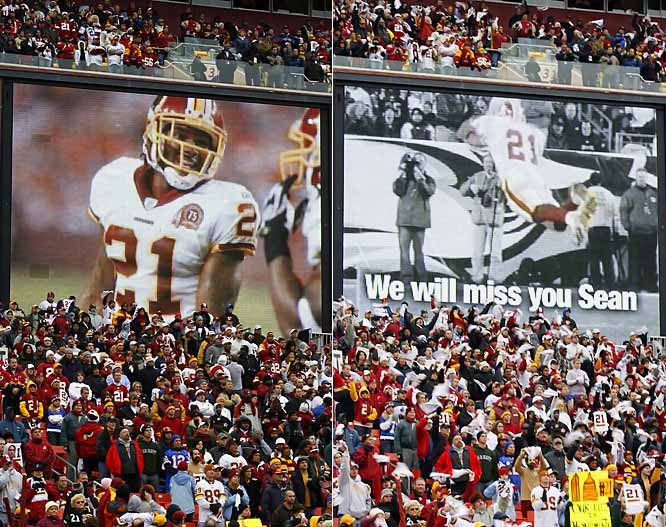 The Redskins organization played a video tribute to Taylor on the JumboTron as the team played the first snap of the game with only 10 men.