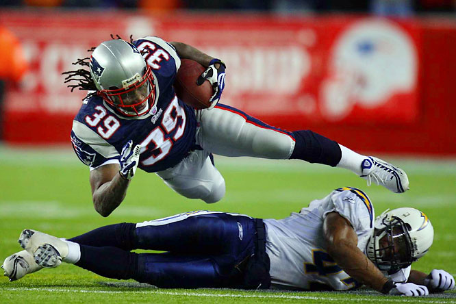 Running back Laurence Maroney powered the Patriots to their fourth Super Bowl in seven years, lunging over Chargers safety Clinton Hart for extra yardage. Maroney rushed for 122 yards and a touchdown on 25 carries.