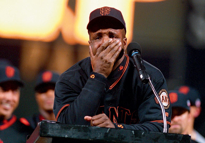 Barry Bonds had trouble keeping his emotions in check during the postgame ceremony after he hit his record-breaking 71st & 72nd home runs against the Los Angeles Dodgers.