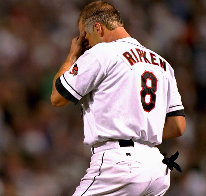 Cal Ripken takes a second to gather his emotions after breaking Lou Gehrig's record for most consecutive games played.